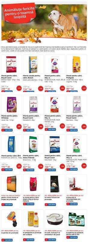 Reduceri la hrană şi accesorii pt. animalele de companie