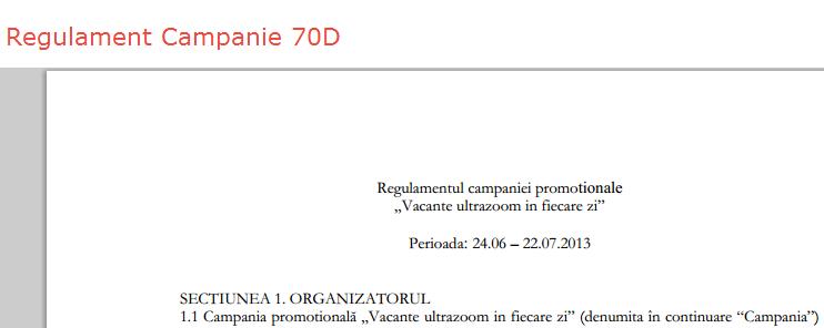 regulament campanie Canon 70D